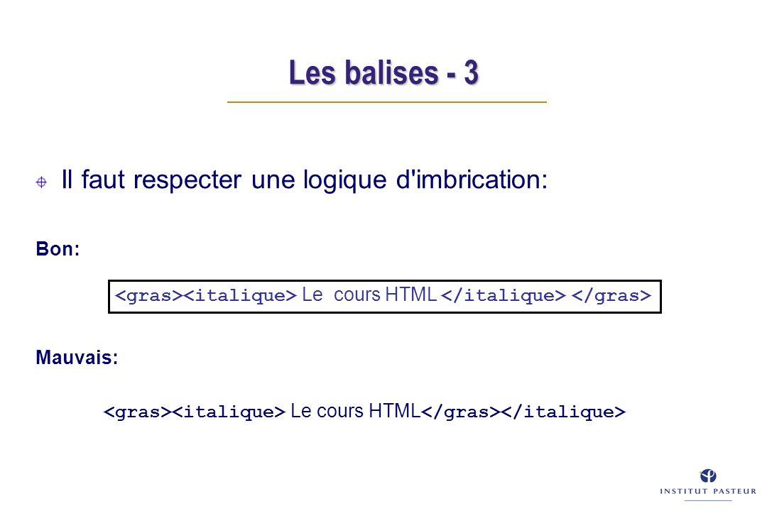 Les balises - 3 Il faut respecter une logique d imbrication: Bon: Mauvais: Le cours HTML