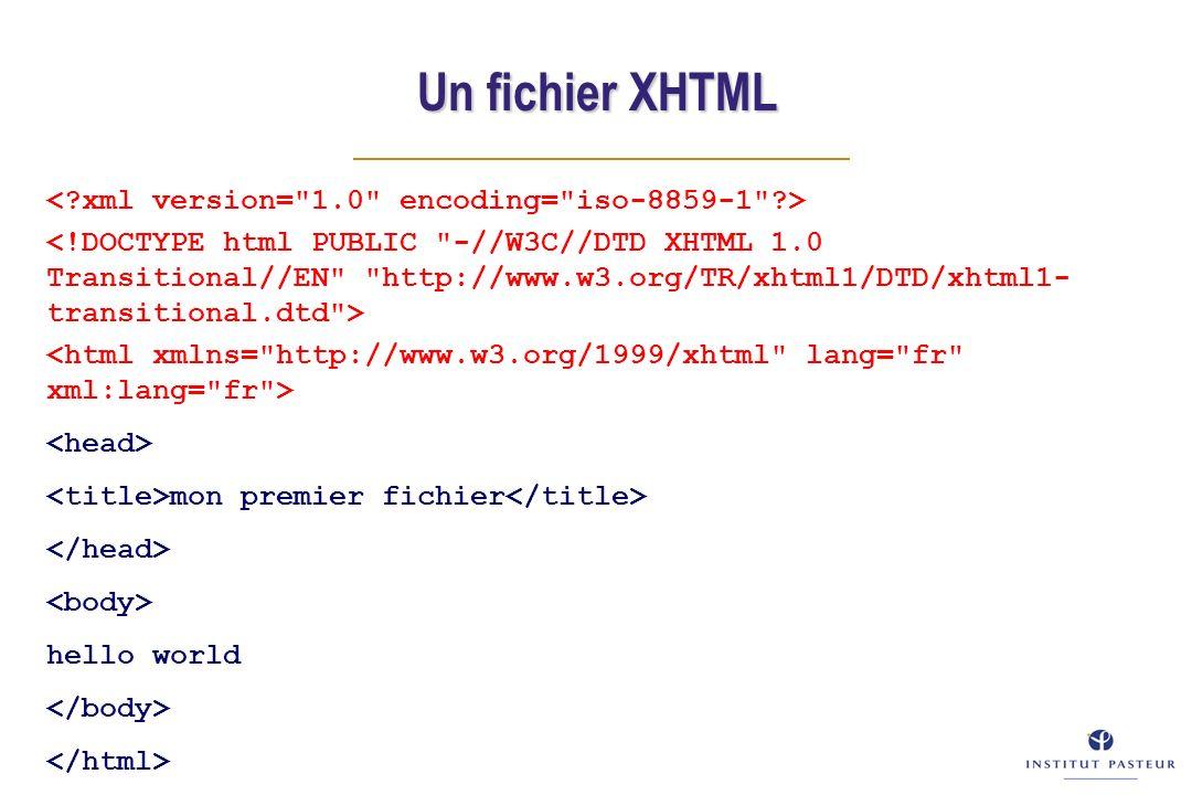 mon premier fichier hello world Un fichier XHTML