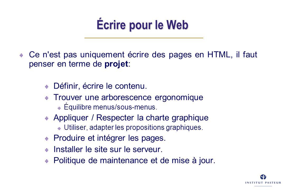Écrire pour le Web Ce n est pas uniquement écrire des pages en HTML, il faut penser en terme de projet: Définir, écrire le contenu.
