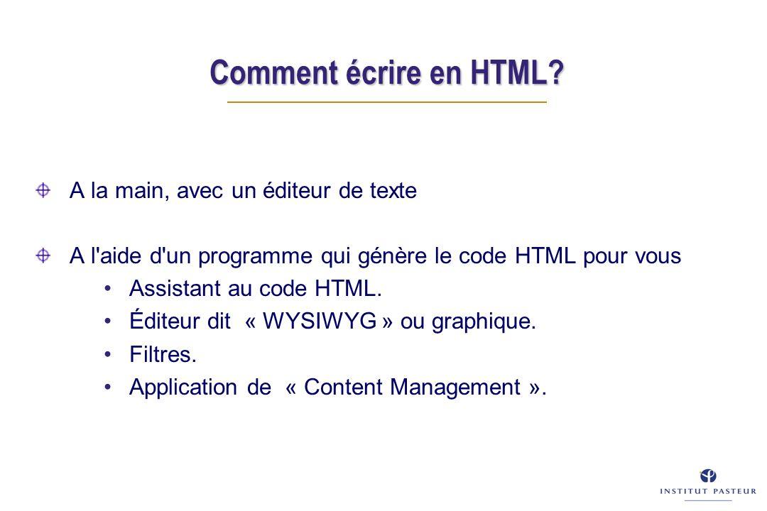 Comment écrire en HTML.