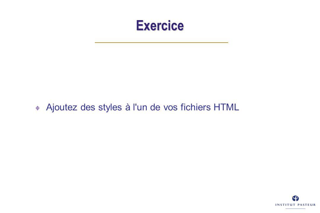 Exercice Ajoutez des styles à l un de vos fichiers HTML