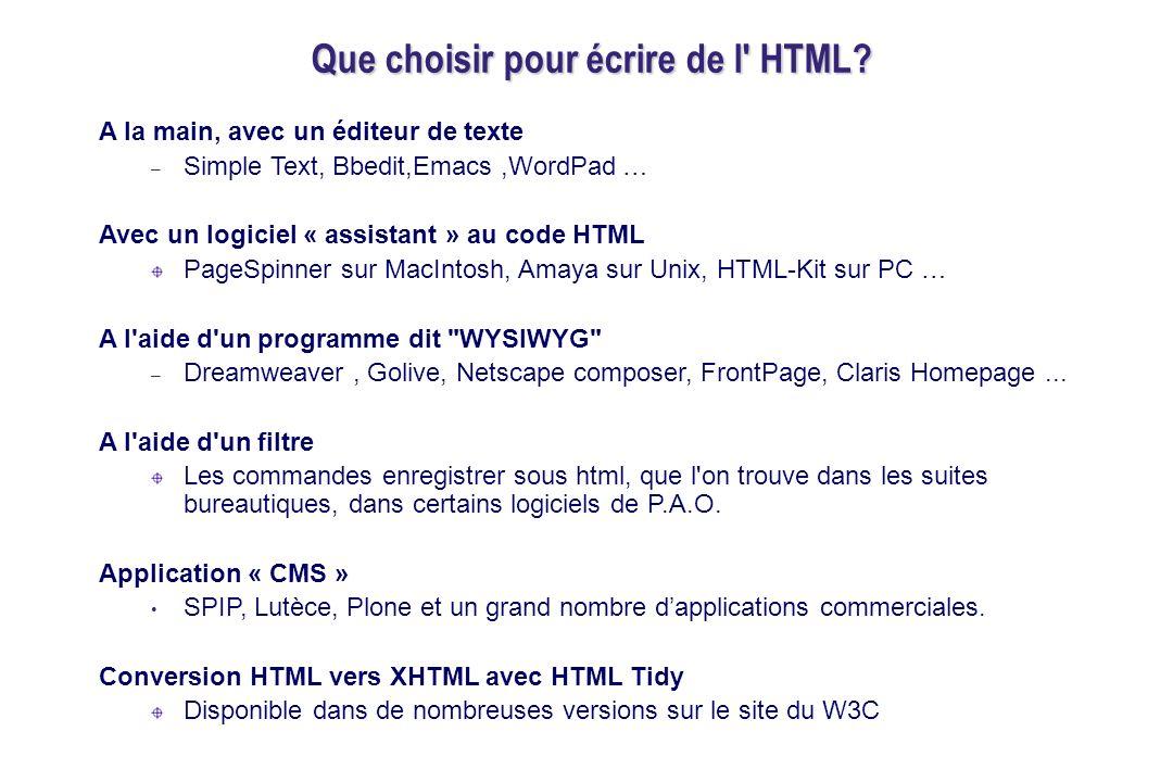 Que choisir pour écrire de l HTML.
