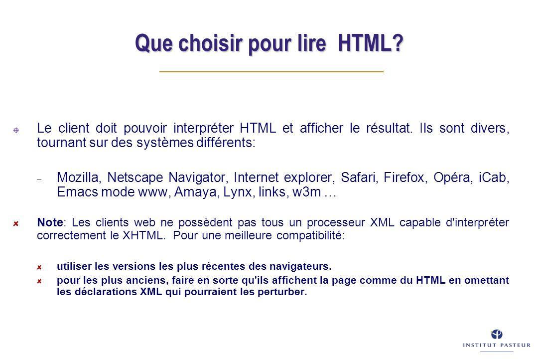 Le client doit pouvoir interpréter HTML et afficher le résultat.