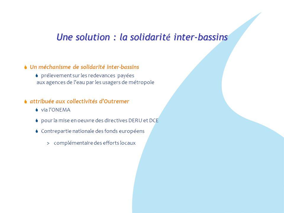 Une solution : la solidarit é inter-bassins Un méchanisme de solidarité inter-bassins prélevement sur les redevances payées aux agences de leau par le