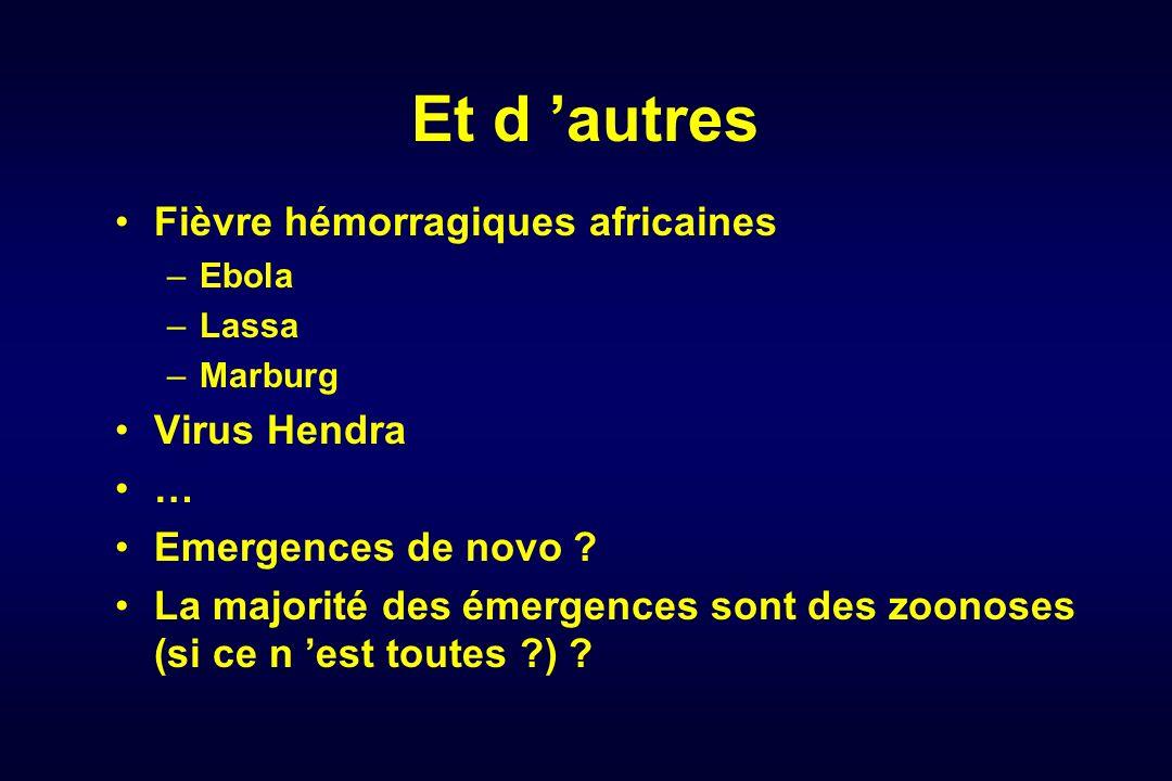 Et d autres Fièvre hémorragiques africaines –Ebola –Lassa –Marburg Virus Hendra … Emergences de novo ? La majorité des émergences sont des zoonoses (s