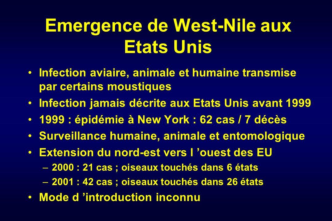 Emergence de West-Nile aux Etats Unis Infection aviaire, animale et humaine transmise par certains moustiques Infection jamais décrite aux Etats Unis