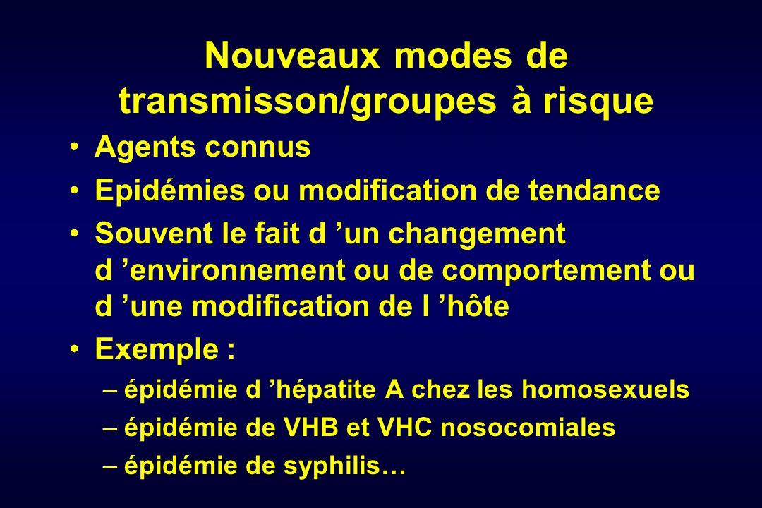 Nouveaux modes de transmisson/groupes à risque Agents connus Epidémies ou modification de tendance Souvent le fait d un changement d environnement ou