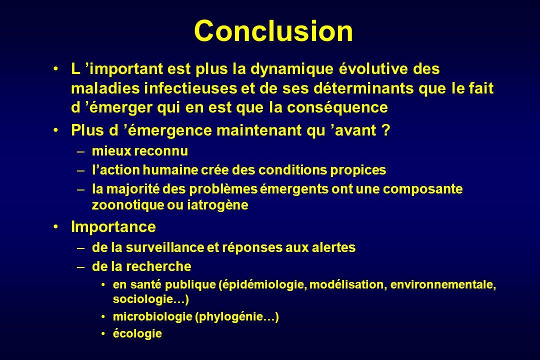 Conclusion L important est plus la dynamique évolutive des maladies infectieuses et de ses déterminants que le fait d émerger qui en est que la conséq