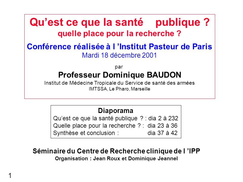 Quest ce que la santé publique ? quelle place pour la recherche ? Conférence réalisée à l Institut Pasteur de Paris Mardi 18 décembre 2001 par Profess