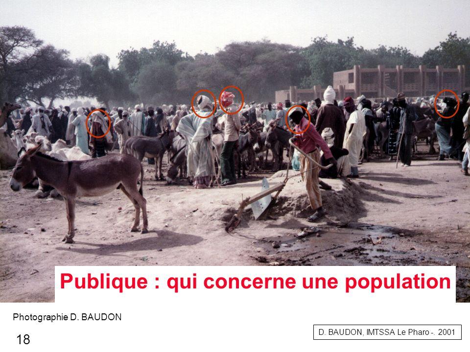 Publique : qui concerne une population D. BAUDON, IMTSSA Le Pharo -. 2001 Photographie D. BAUDON 18