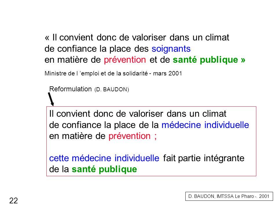 « Il convient donc de valoriser dans un climat de confiance la place des soignants en matière de prévention et de santé publique » Ministre de l emplo