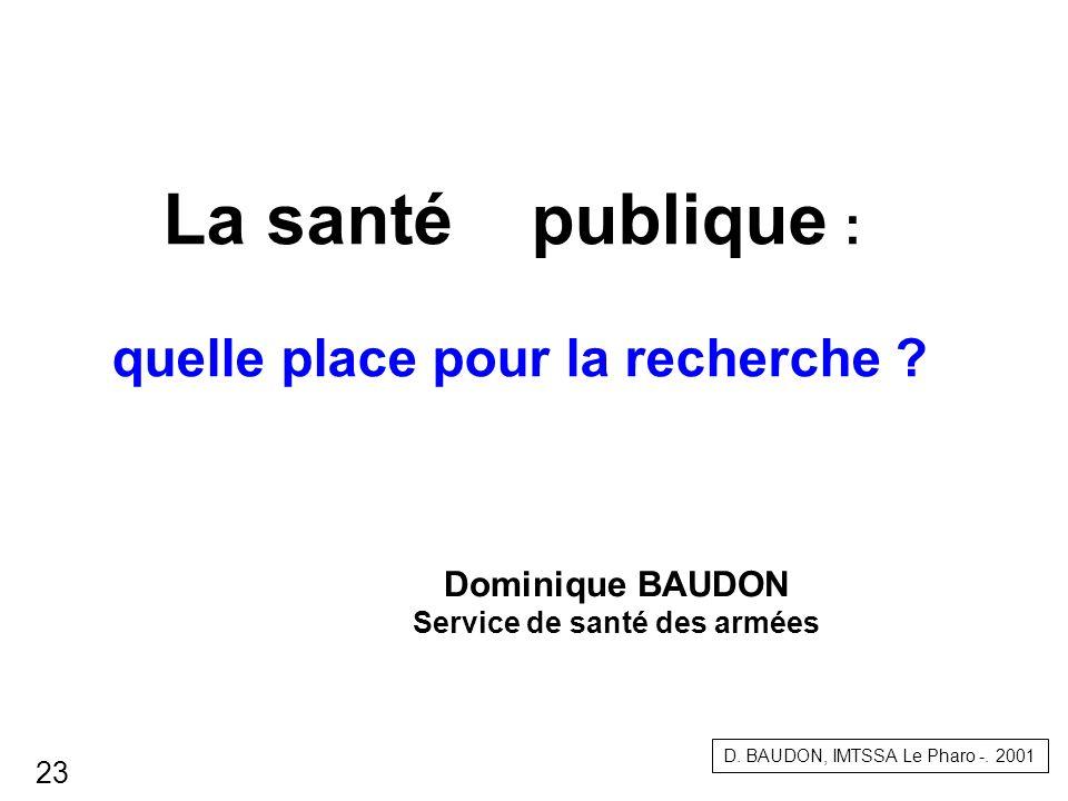 La santé publique : quelle place pour la recherche ? Dominique BAUDON Service de santé des armées D. BAUDON, IMTSSA Le Pharo -. 2001 23