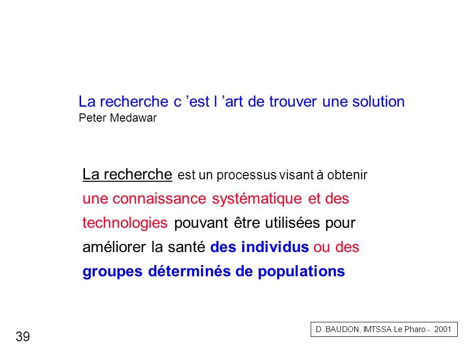 La recherche c est l art de trouver une solution Peter Medawar La recherche est un processus visant à obtenir une connaissance systématique et des tec
