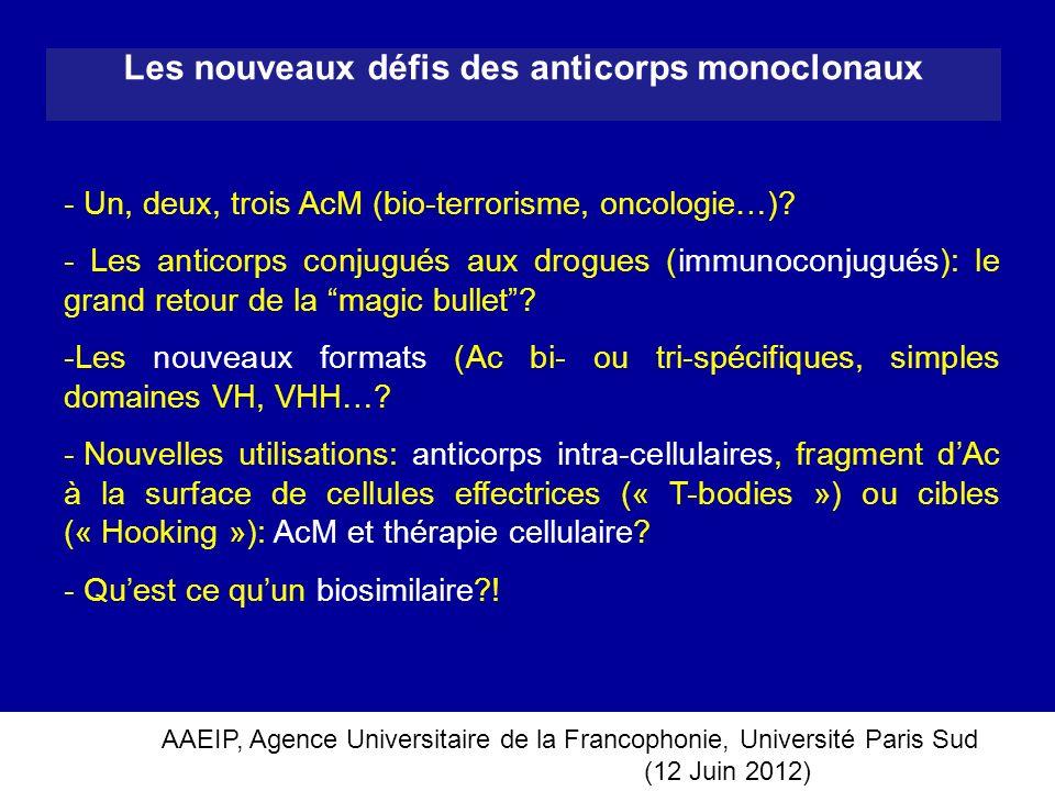 AAEIP, Agence Universitaire de la Francophonie, Université Paris Sud (12 Juin 2012) Les nouveaux défis des anticorps monoclonaux - Un, deux, trois AcM