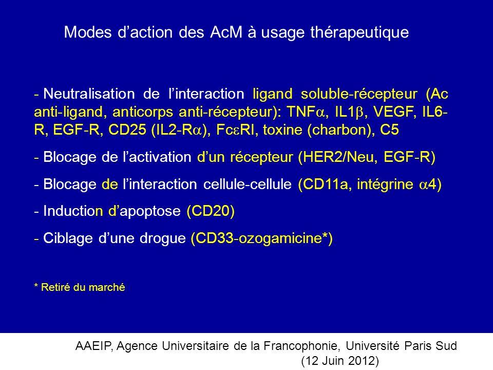 AAEIP, Agence Universitaire de la Francophonie, Université Paris Sud (12 Juin 2012) Modes daction des AcM à usage thérapeutique - Neutralisation de li