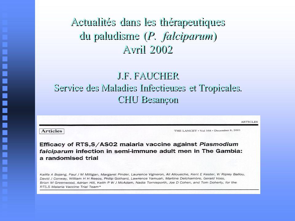 traitements curatifs (schémas) paludisme modéré ou sévère paludisme modéré ou sévère artéméther (I.M.) artéméther (I.M.) ATU nominative: ATU nominative: CI à la quinineCI à la quinine échec documenté à la quinineéchec documenté à la quinine associations quinine-AB associations quinine-AB quinine-clindamycine (24 mg/kg/j-15mg/kg/j ; 3 jours) quinine-clindamycine (24 mg/kg/j-15mg/kg/j ; 3 jours) quinine-doxycycline (24 mg/kg-3 mg/kg ; 7 jours) quinine-doxycycline (24 mg/kg-3 mg/kg ; 7 jours)