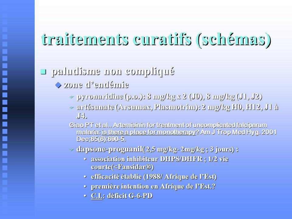 traitements curatifs (schémas) paludisme non compliqué paludisme non compliqué zone dendémie zone dendémie pyronaridine (p.o.): 8 mg/kg x 2 (J0), 8 mg