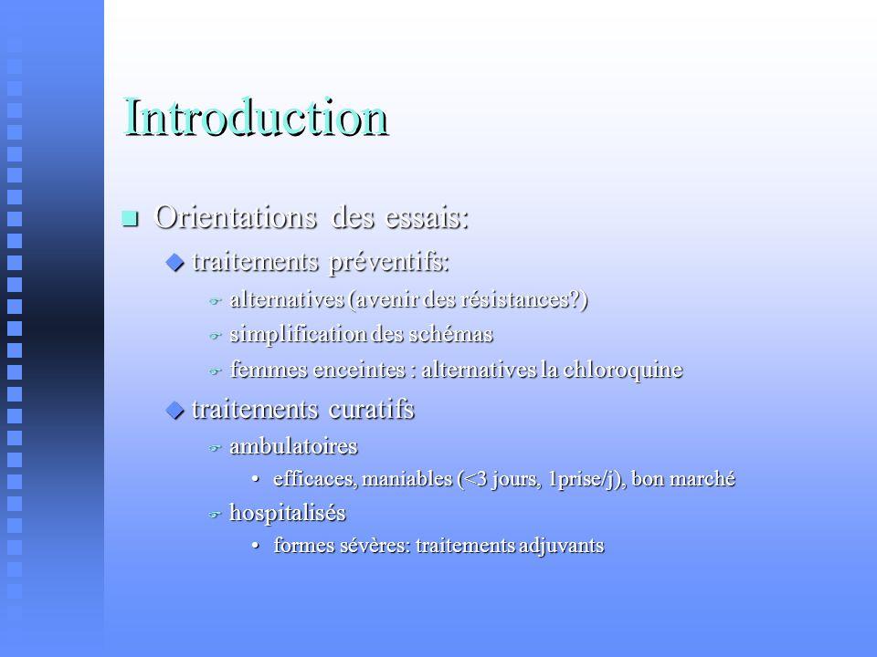 Introduction Orientations des essais: Orientations des essais: traitements préventifs: traitements préventifs: alternatives (avenir des résistances?)