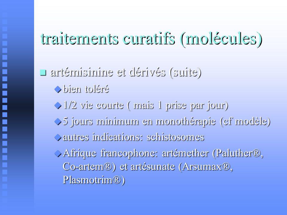 traitements curatifs (molécules) artémisinine et dérivés (suite) artémisinine et dérivés (suite) bien toléré bien toléré 1/2 vie courte ( mais 1 prise