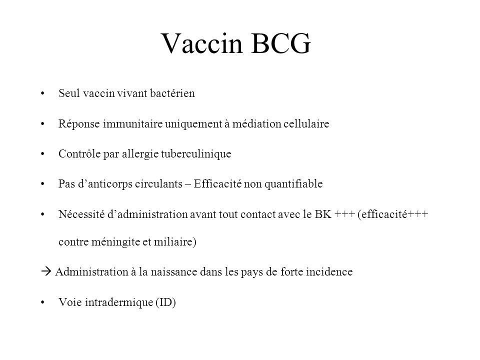 Vaccin BCG Seul vaccin vivant bactérien Réponse immunitaire uniquement à médiation cellulaire Contrôle par allergie tuberculinique Pas danticorps circulants – Efficacité non quantifiable Nécessité dadministration avant tout contact avec le BK +++ (efficacité+++ contre méningite et miliaire) Administration à la naissance dans les pays de forte incidence Voie intradermique (ID)