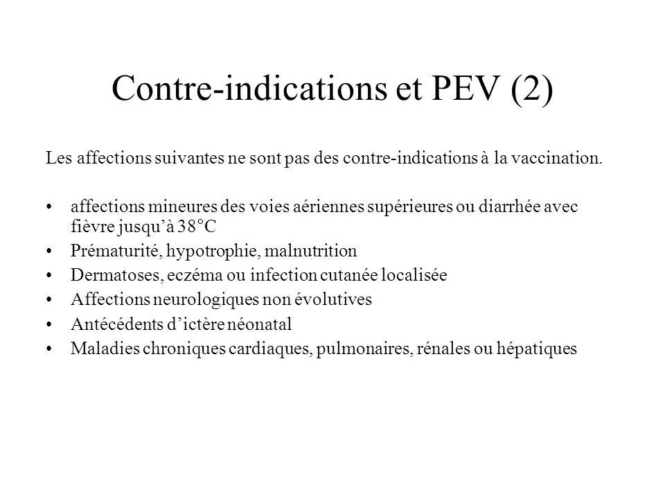 Contre-indications et PEV (2) Les affections suivantes ne sont pas des contre-indications à la vaccination. affections mineures des voies aériennes su