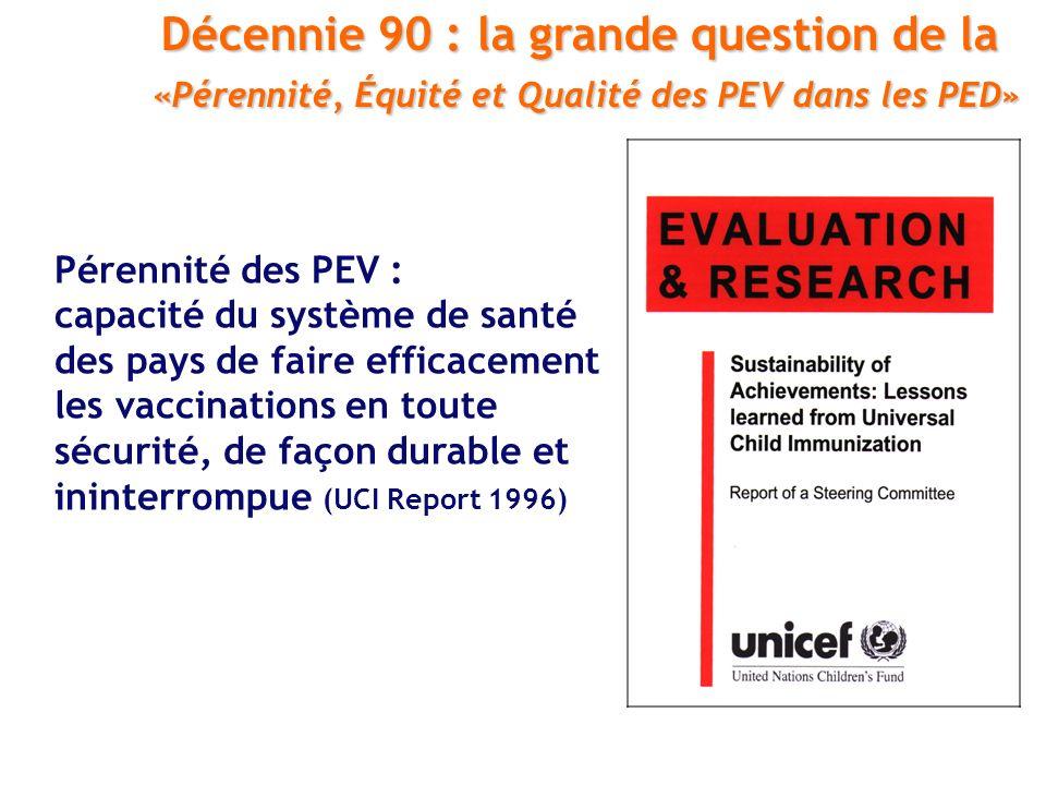Pérennité des PEV : capacité du système de santé des pays de faire efficacement les vaccinations en toute sécurité, de façon durable et ininterrompue (UCI Report 1996) Décennie 90 : la grande question de la «Pérennité, Équité et Qualité des PEV dans les PED» «Pérennité, Équité et Qualité des PEV dans les PED»