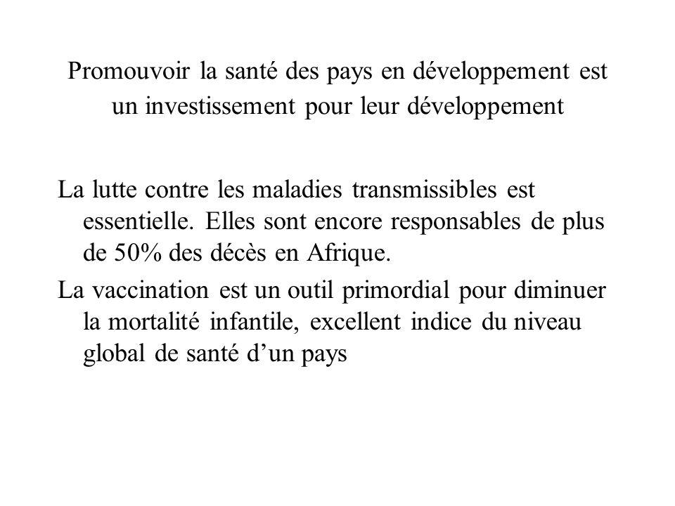 Promouvoir la santé des pays en développement est un investissement pour leur développement La lutte contre les maladies transmissibles est essentielle.