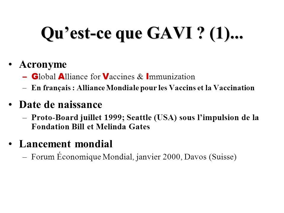 Quest-ce que GAVI ? (1)... Acronyme –GAV –G lobal A lliance for V accines & I mmunization –En français : Alliance Mondiale pour les Vaccins et la Vacc