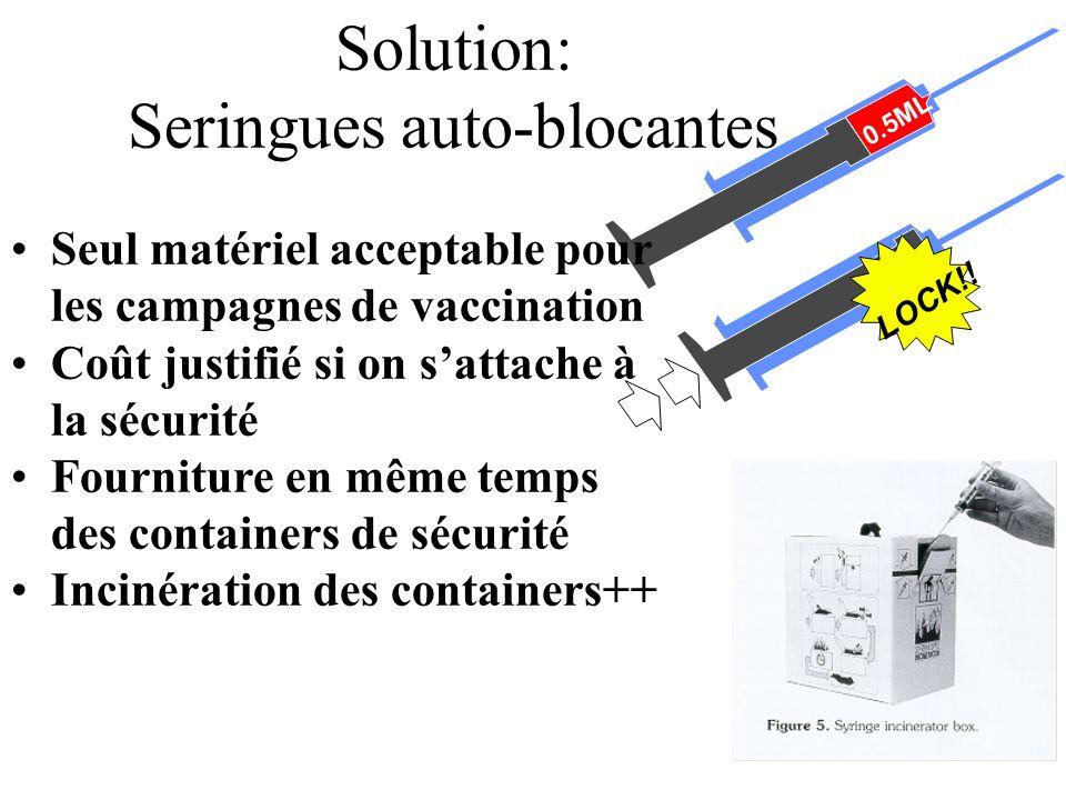 Solution: Seringues auto-blocantes 0.5ML LOCK!! Seul matériel acceptable pour les campagnes de vaccination Coût justifié si on sattache à la sécurité