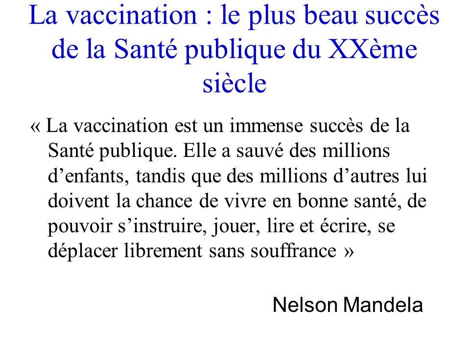 La vaccination : le plus beau succès de la Santé publique du XXème siècle « La vaccination est un immense succès de la Santé publique. Elle a sauvé de