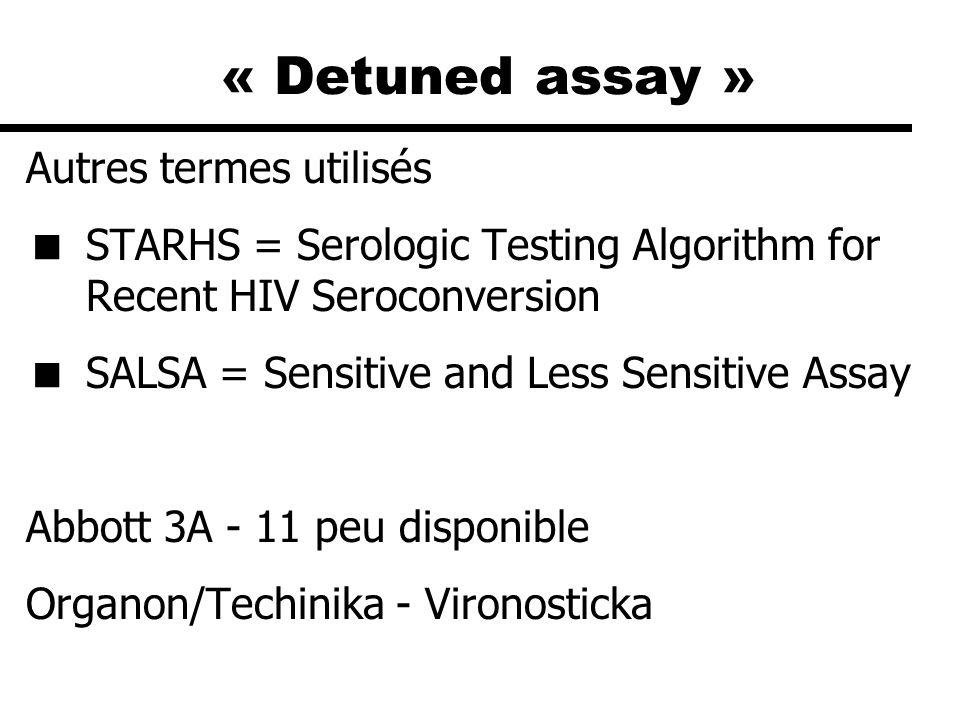« Detuned assay » Autres termes utilisés STARHS = Serologic Testing Algorithm for Recent HIV Seroconversion SALSA = Sensitive and Less Sensitive Assay