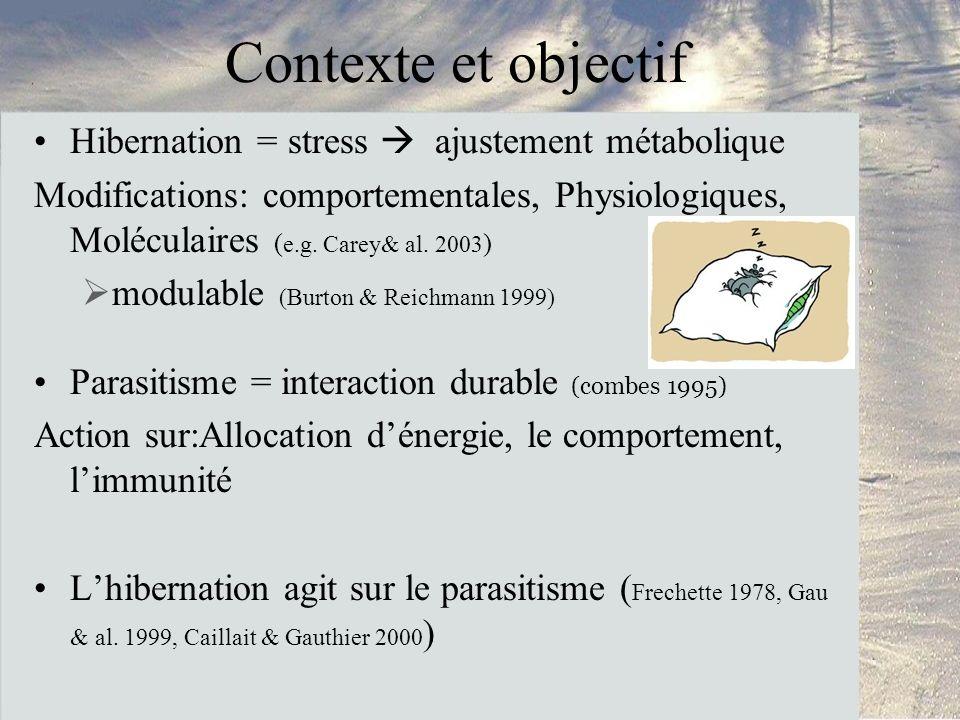 Contexte et objectif Hibernation = stress ajustement métabolique Modifications: comportementales, Physiologiques, Moléculaires ( e.g.