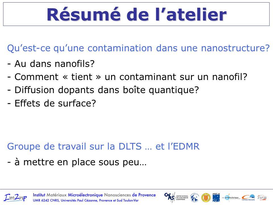 Résumé de latelier Quest-ce quune contamination dans une nanostructure.
