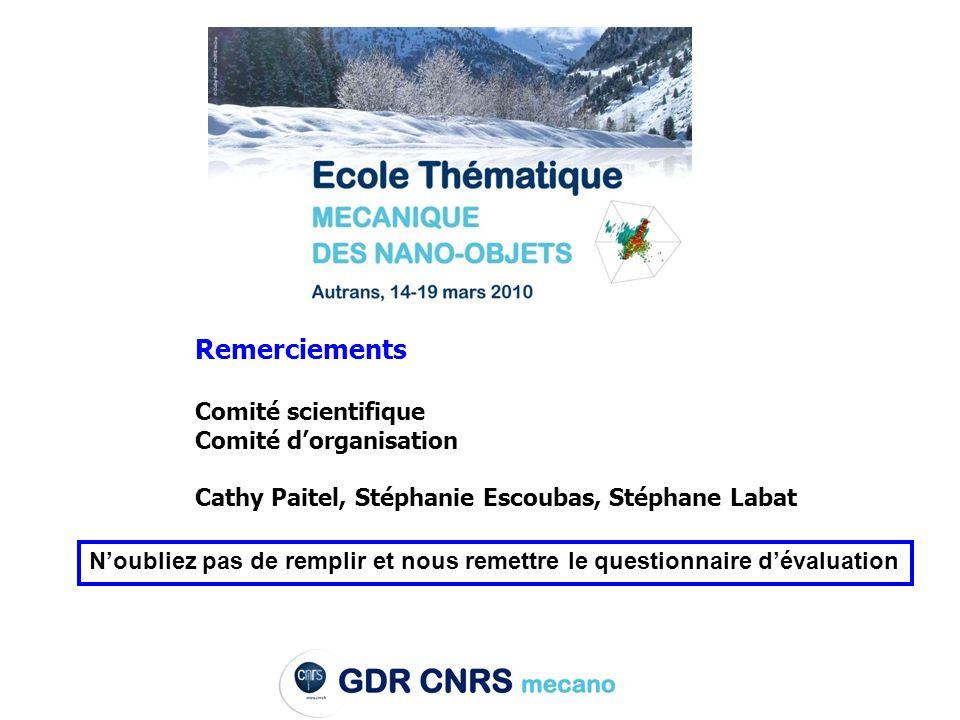 Remerciements Comité scientifique Comité dorganisation Cathy Paitel, Stéphanie Escoubas, Stéphane Labat Noubliez pas de remplir et nous remettre le questionnaire dévaluation