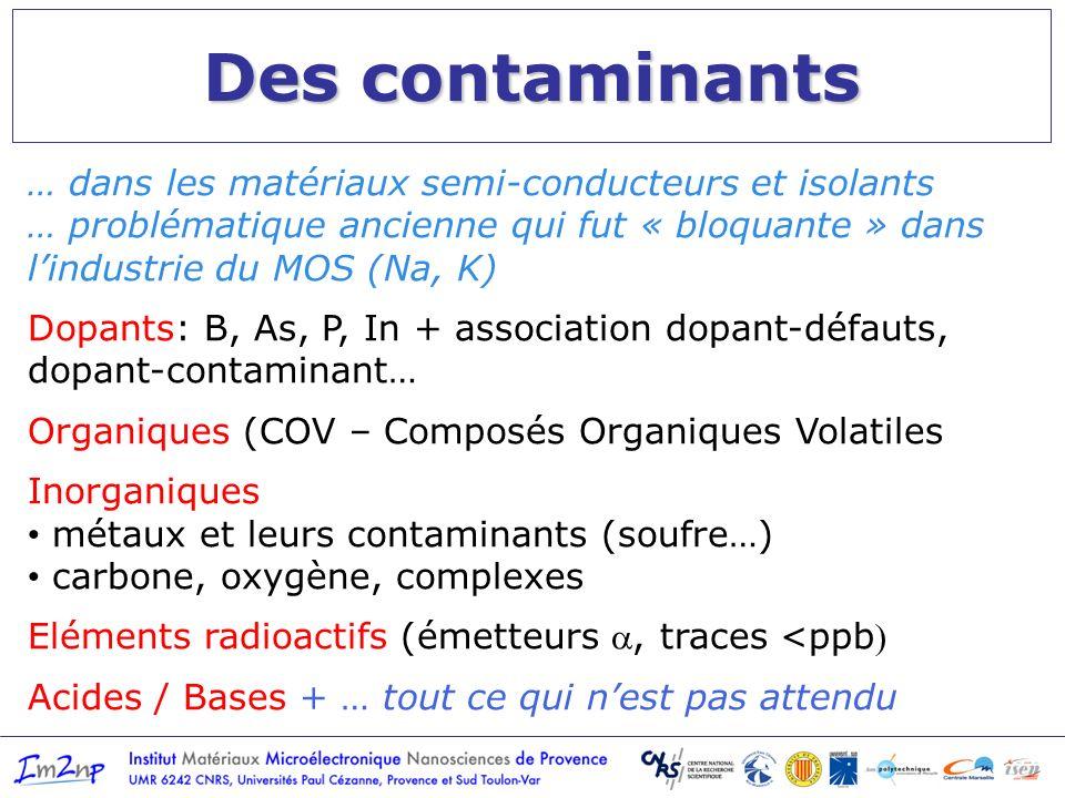 Des contaminants … dans les matériaux semi-conducteurs et isolants … problématique ancienne qui fut « bloquante » dans lindustrie du MOS (Na, K) Dopan