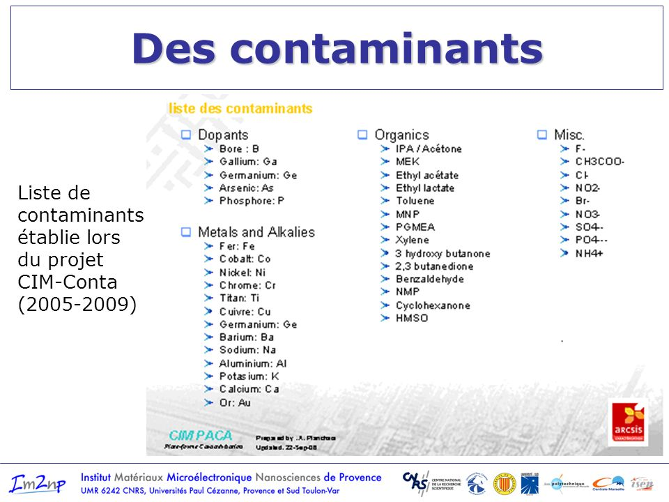 Des contaminants