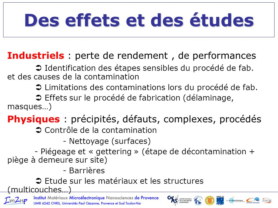 Des effets et des études Industriels : perte de rendement, de performances Identification des étapes sensibles du procédé de fab. et des causes de la
