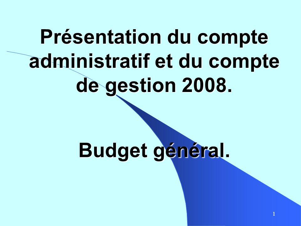1 Présentation du compte administratif et du compte de gestion 2008. Budget général.