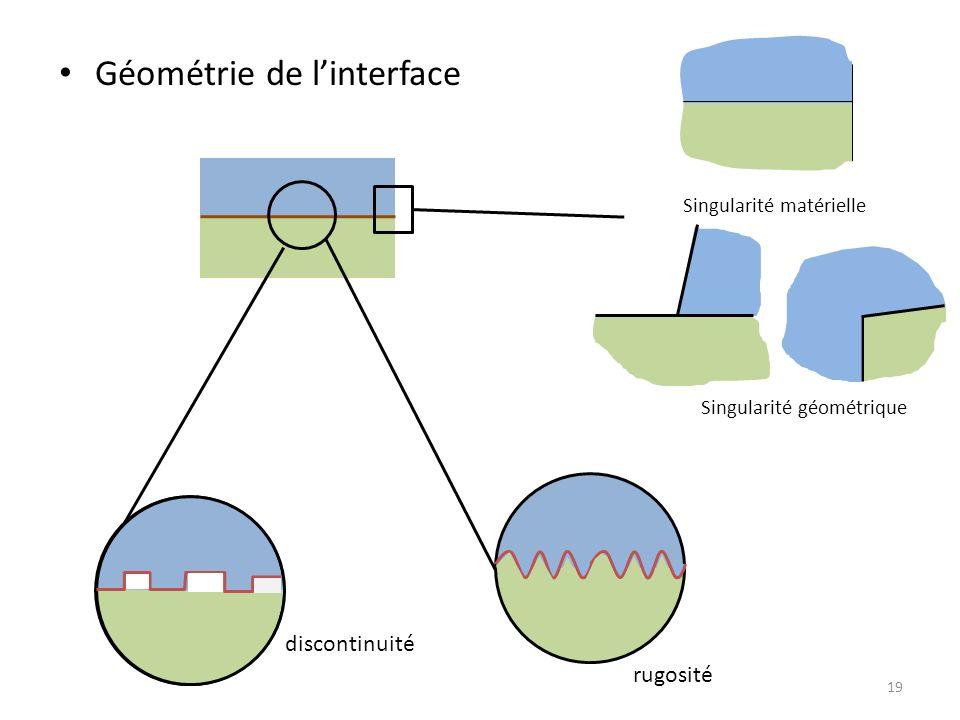 Géométrie de linterface 19 Singularité matérielle Singularité géométrique rugosité discontinuité