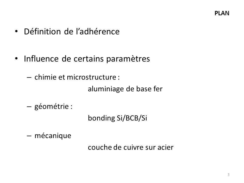 PLAN Définition de ladhérence Influence de certains paramètres – chimie et microstructure : aluminiage de base fer – géométrie : bonding Si/BCB/Si – m