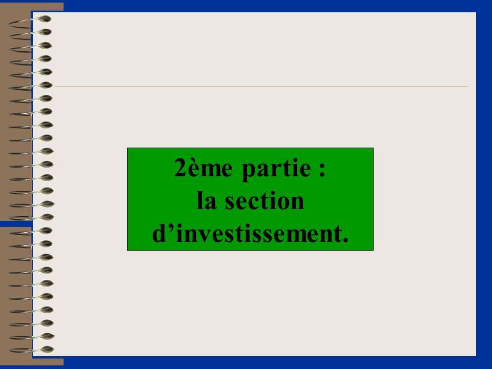 2ème partie : la section dinvestissement.