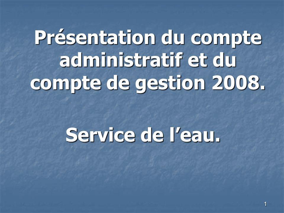 1 Présentation du compte administratif et du compte de gestion 2008. Service de leau.