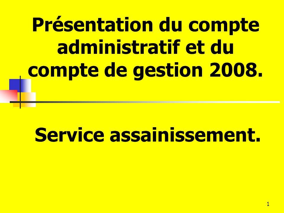 1 Présentation du compte administratif et du compte de gestion 2008. Service assainissement.