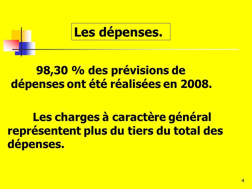4 98,30 % des prévisions de dépenses ont été réalisées en 2008. Les dépenses. Les charges à caractère général représentent plus du tiers du total des