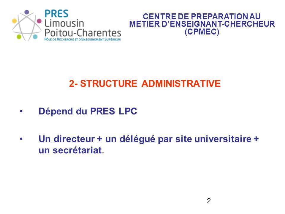 2 2- STRUCTURE ADMINISTRATIVE Dépend du PRES LPC Un directeur + un délégué par site universitaire + un secrétariat. CENTRE DE PREPARATION AU METIER DE