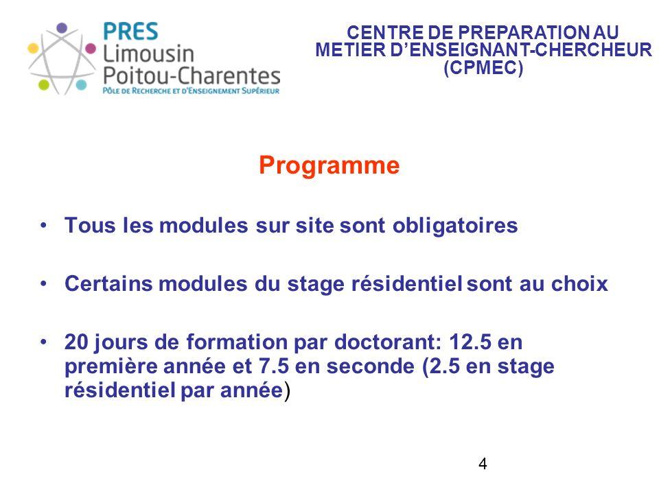 4 Programme Tous les modules sur site sont obligatoires Certains modules du stage résidentiel sont au choix 20 jours de formation par doctorant: 12.5 en première année et 7.5 en seconde (2.5 en stage résidentiel par année) CENTRE DE PREPARATION AU METIER DENSEIGNANT-CHERCHEUR (CPMEC)