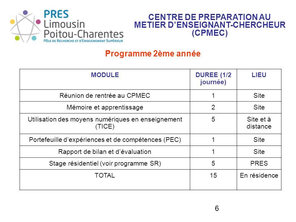 6 Programme 2ème année CENTRE DE PREPARATION AU METIER DENSEIGNANT-CHERCHEUR (CPMEC) MODULEDUREE (1/2 journée) LIEU Réunion de rentrée au CPMEC1Site M