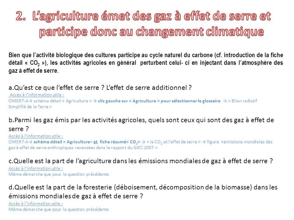 Bien que lactivité biologique des cultures participe au cycle naturel du carbone (cf. introduction de la fiche détail « CO 2 »), les activités agricol