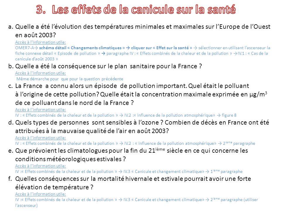 a.Quelle a été lévolution des températures minimales et maximales sur lEurope de lOuest en août 2003.