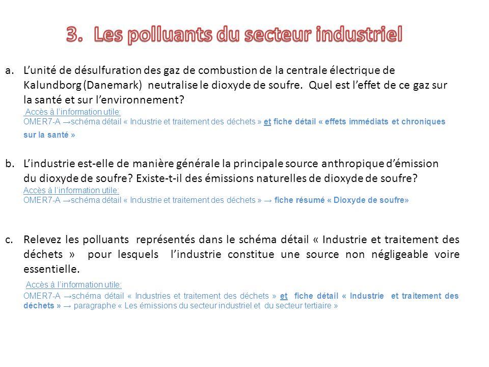 c.Relevez les polluants représentés dans le schéma détail « Industrie et traitement des déchets » pour lesquels lindustrie constitue une source non né
